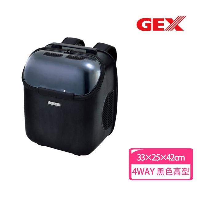 【GEX】旅行者太空艙包 Tall 黑色(寵物背包 後背 前背 手提 透明窗)