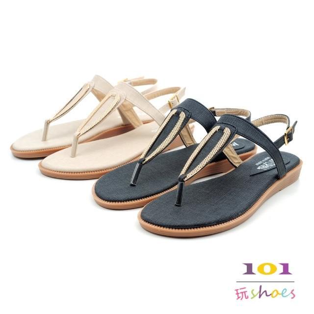 【101 玩Shoes】mit. 大尺碼金屬T字夾腳平底美形涼鞋(米色/黑色.41-44碼)