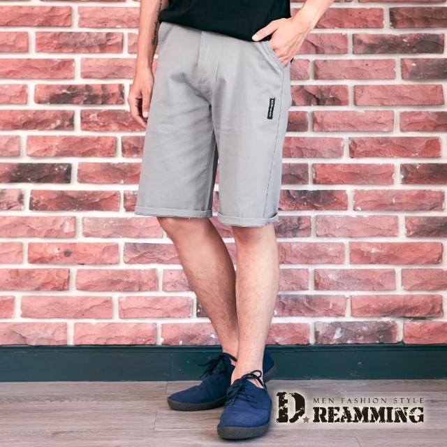 【Dreamming】日系布標伸縮休閒短褲 彈力 舒適(共二色)