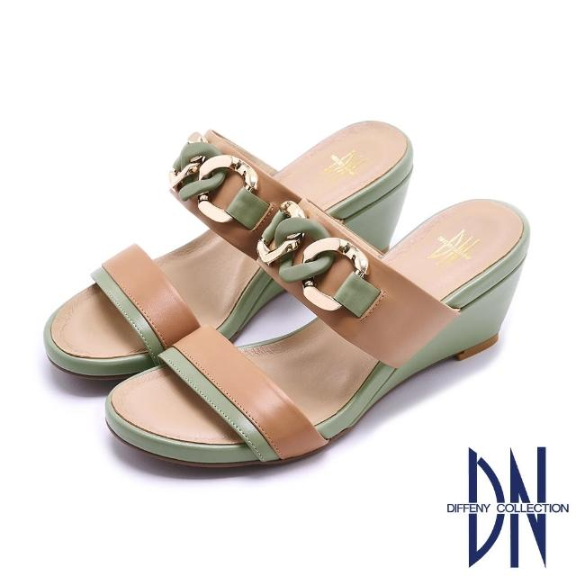 【DN】拖鞋_MIT法式雙色環鏈烤漆飾釦楔型涼拖鞋(駝綠)