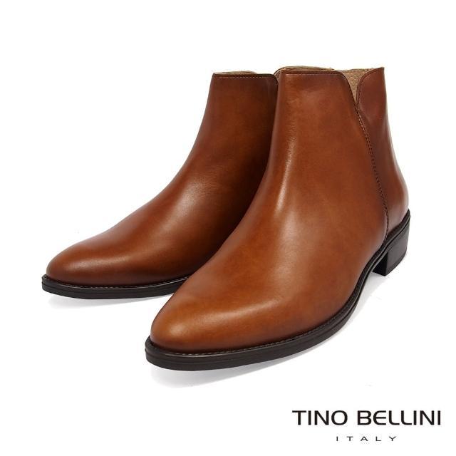 【TINO BELLINI 貝里尼】西班牙進口都會俐落牛皮低跟短靴VI8530(駝)