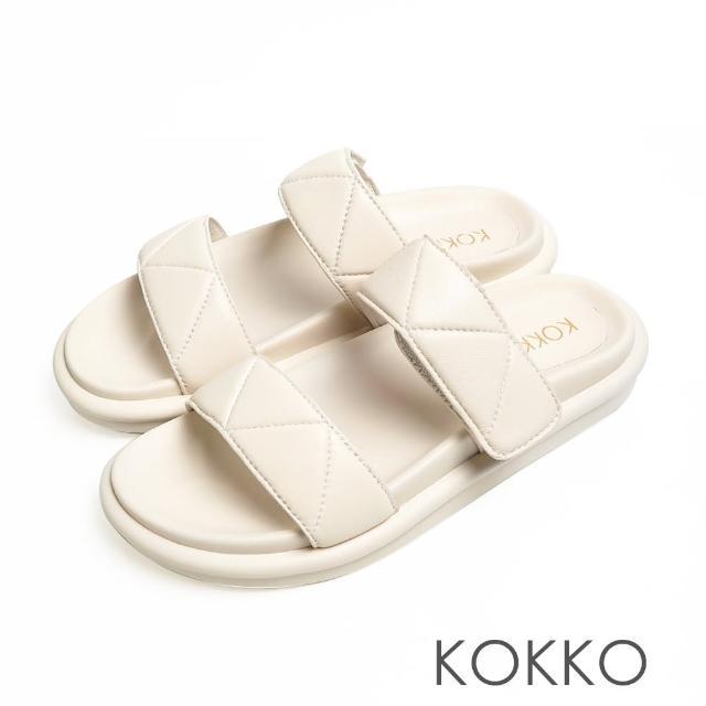 【KOKKO 集團】簡約壓紋牛皮寬版厚底拖鞋(白色)