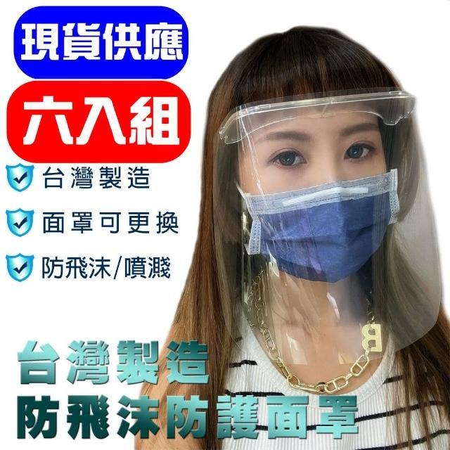 MIT 台灣製造 防飛沫防霧全透明防護面罩 全方位防護面罩(六入組)