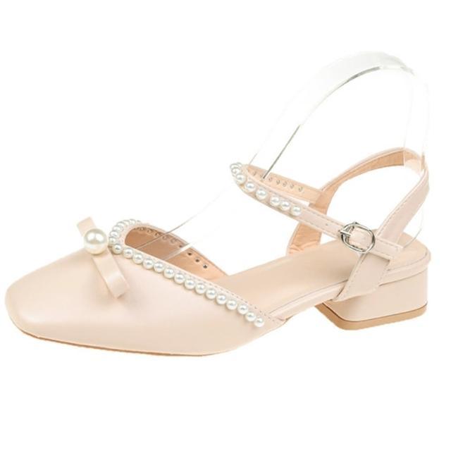 【Taroko】溫雅珍珠蝴蝶結氣質中空涼跟鞋(杏色)