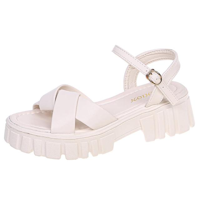 【Taroko】俐落交錯露趾不規則鬆糕厚底涼鞋(2色可選)