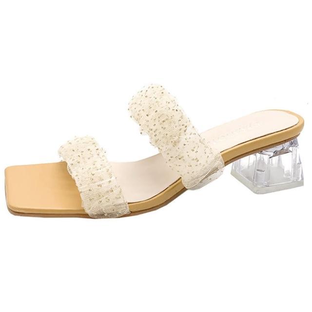 【Taroko】點點金蔥蕾絲方頭水晶粗跟拖鞋(4色可選)