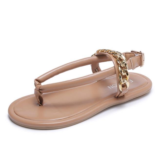 【Taroko】金鍊設計柔軟夾腳平底涼鞋(3色可選)