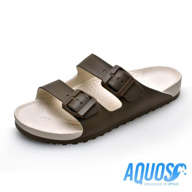 【G.P】女 AQUOS雙色雙帶柏肯防水拖鞋 女鞋(咖啡)