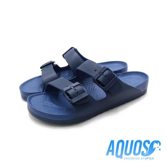 【G.P】男 AQUOS雙色雙帶柏肯防水拖鞋 男鞋(深藍)