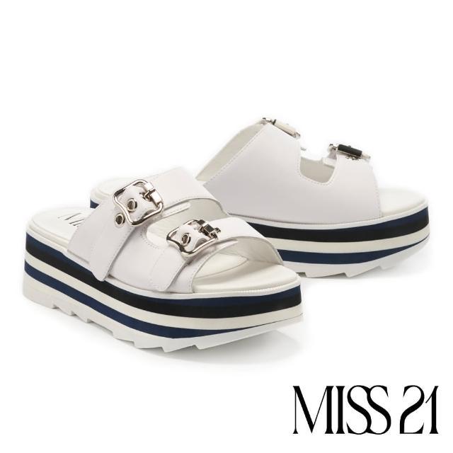 【MISS 21】時髦小復古牛皮超高雙色堆疊厚底拖鞋(白)