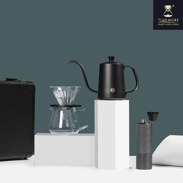 【TIMEMORE 泰摩】栗子C2小殺手箱手沖咖啡套裝-七件組(咖啡濾杯 玻璃分享壺 超值組 濾紙 溫度計)
