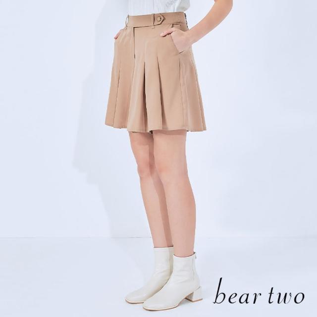 【bear two】仿腰帶式百褶短褲裙(兩色)