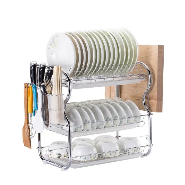 【Ogula 小倉】廚房多功能三層碗盤瀝水架(瀝水籃/菜刀架/收納架/置物架/碗盤架)