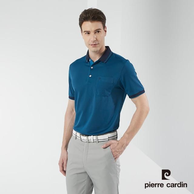 【pierre cardin 皮爾卡登】男裝 吸濕排汗直條短袖polo衫-藍色(5217207-38)