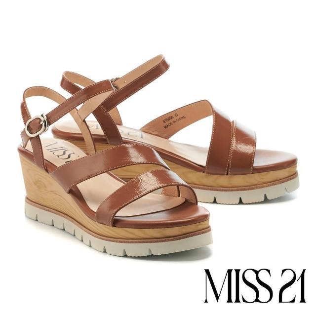 【MISS 21】簡約質感繫帶牛皮楔型高跟涼鞋(咖)