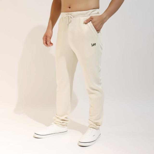 【Lee】薄款舒適 男運動針織休閒褲-奶霜白
