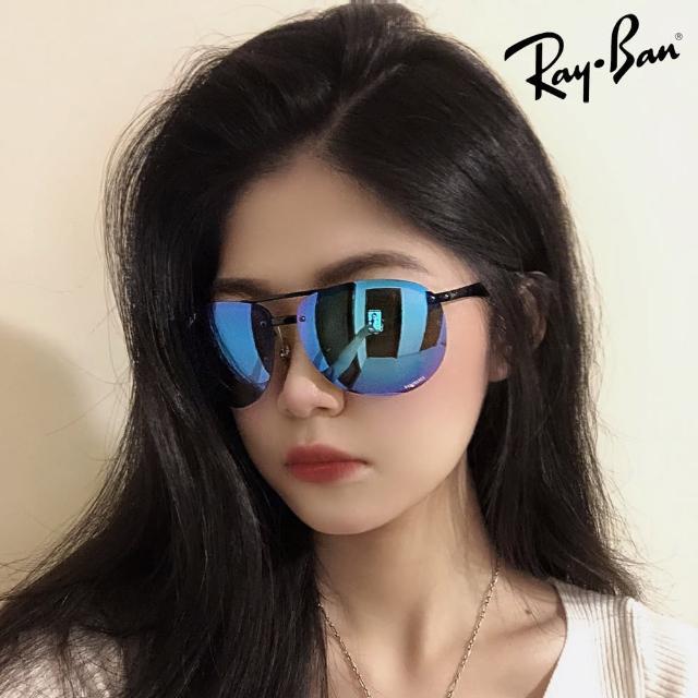 【RayBan 雷朋】超輕量極彩偏光 無框太陽眼鏡 RB4293CH 601/A1 亮黑框晶藍水銀偏光鏡片 公司貨