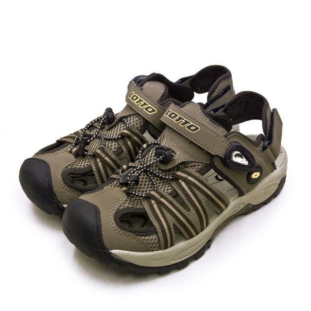 【LOTTO】男 專業排水護趾戶外運動涼鞋 山水玩家系列(咖黑棕 1631)
