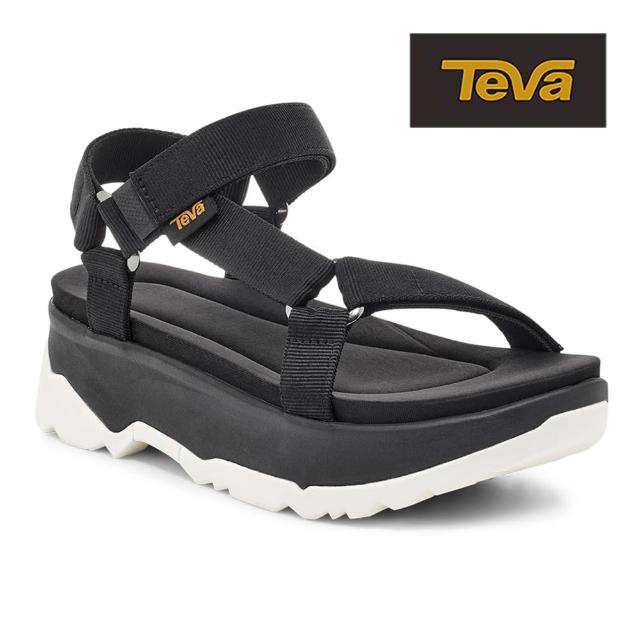 【TEVA】原廠貨 女 Jadito Universal 環保織帶軟墊厚底涼鞋/雨鞋/水鞋(黑色-TV1117070BLK)