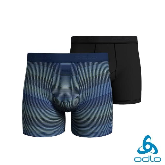 【ODLO】男 銀離子抗菌 立體剪裁四角內褲 2件組(莊園藍/條紋印花/黑)