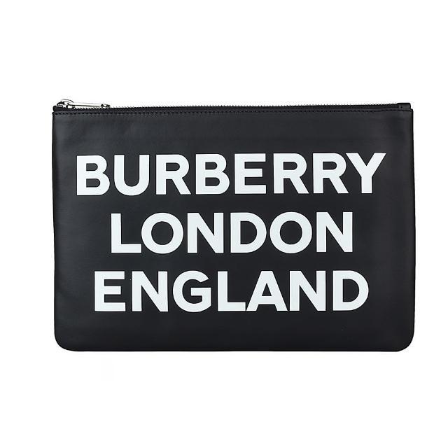 【BURBERRY 巴寶莉】BURBERRY白字LOGO牛皮6卡銀鏈手拿包(黑)