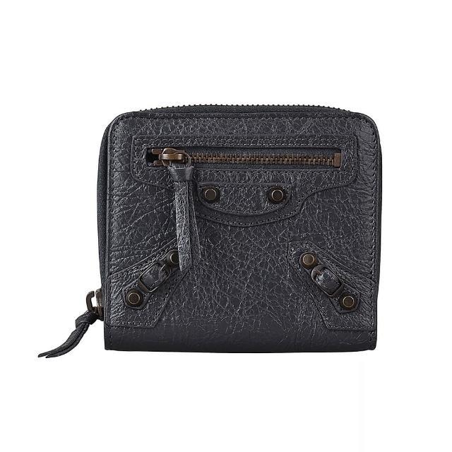 【Balenciaga 巴黎世家】BALENCIAGA CONTINETAL 羊皮扣式零錢短夾(深灰x銅釦)