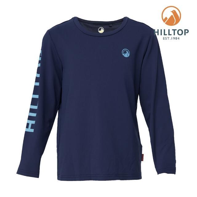 【Hilltop 山頂鳥】童款Polygiene抗菌吸濕快乾LOGO印花長袖T恤(S15C01藍)