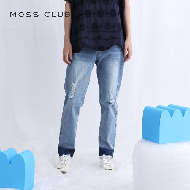 【MOSS CLUB】個性刷破暈染-女長褲(藍色/版型適中)
