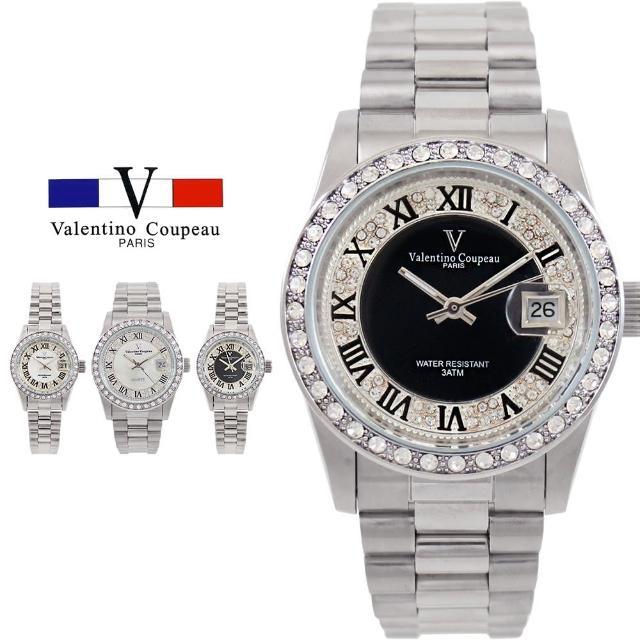 【Valentino Coupeau】奢華雙圈晶鑽羅馬數字不鏽鋼防水男女款手錶-范倫鐵諾 古柏(兩款各2色)