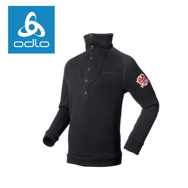 【ODLO】男半門襟長袖加厚保暖衫 220602-15000黑