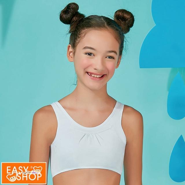 【EASY SHOP】航海風-無鋼圈美國棉少女短背心(清水藍)