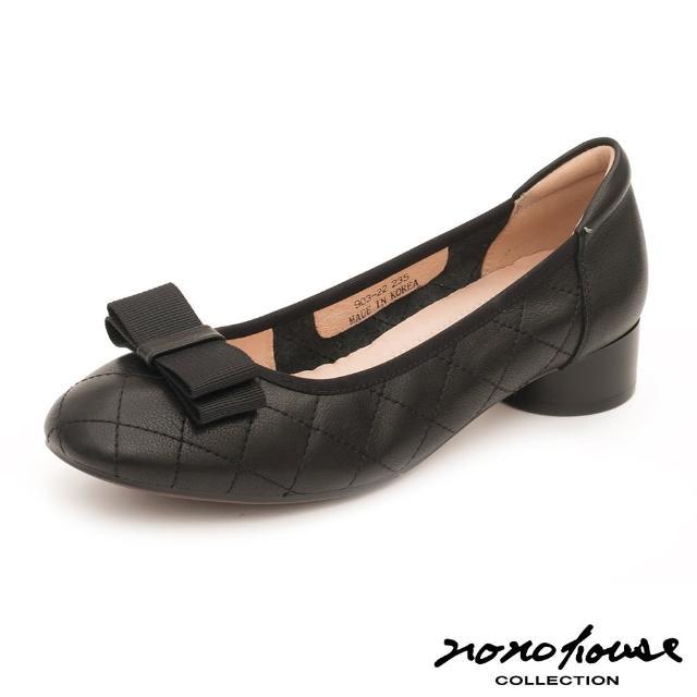 【nono house】經典法式格紋真皮跟鞋(黑)