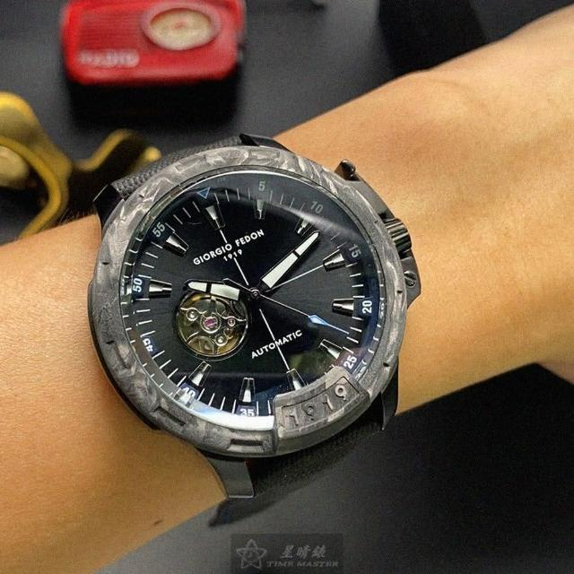 【GIORGIO FEDON 1919】喬治飛登1919男錶型號GF00015(黑色錶面槍灰色錶殼深黑色真皮皮革錶帶款)