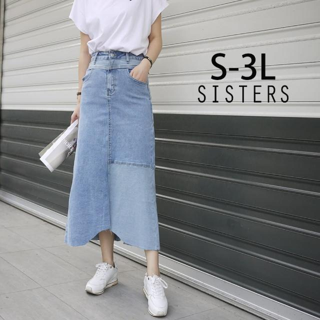 【SISTERS】很好搭的淺刷色割破抓鬚後開衩牛仔長裙/S-3L(牛仔裙/長裙/高腰/顯瘦/彈力)