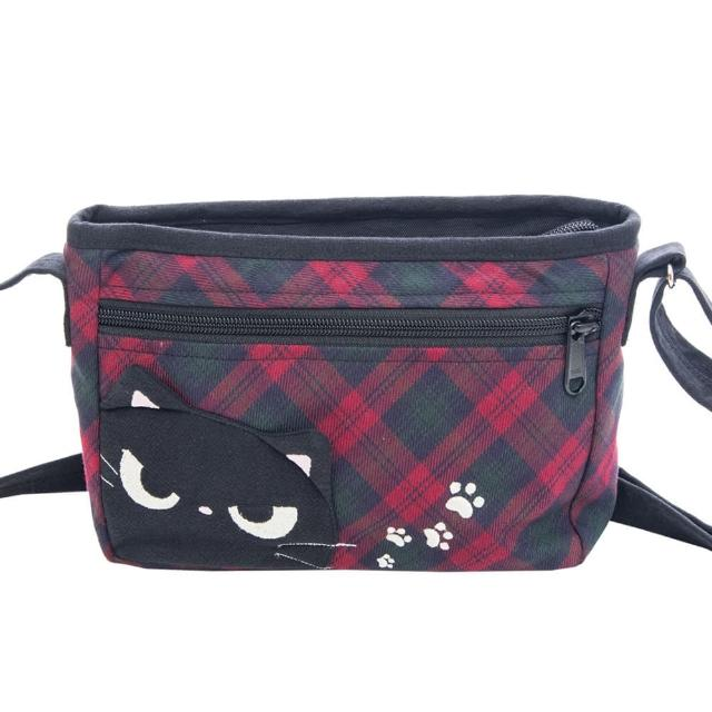 【KIRO 貓】小黑貓 格紋 休閒 拼布包/小斜背包/側背包(810110)