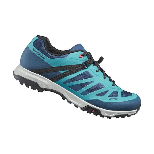 【SHIMANO】ET500 女款休閒平底車鞋 加大旅行鞋楦 藍色