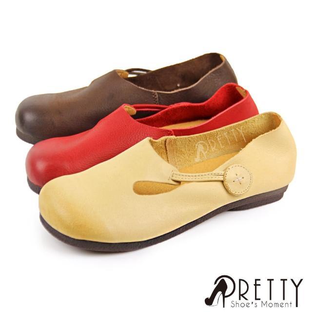 【Pretty】復古森林系沾黏式全真皮圓頭平底休閒鞋(紅色、咖啡、米色)