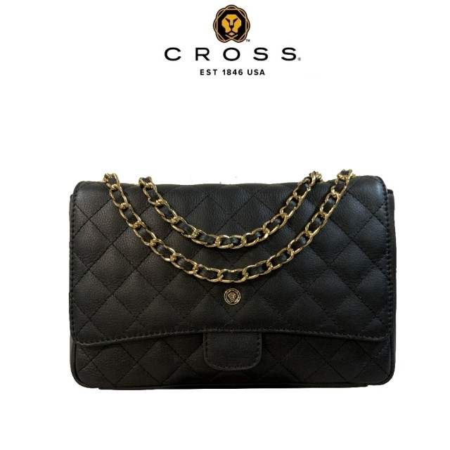 【CROSS】限量1折 頂級小牛皮菱格紋金鍊手提肩背包 全新專櫃展示品(黑色)