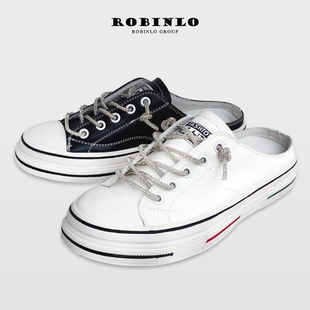 【Robinlo】爆款奢華款水鑽真皮休閒懶人穆勒鞋ARTY(白/黑)