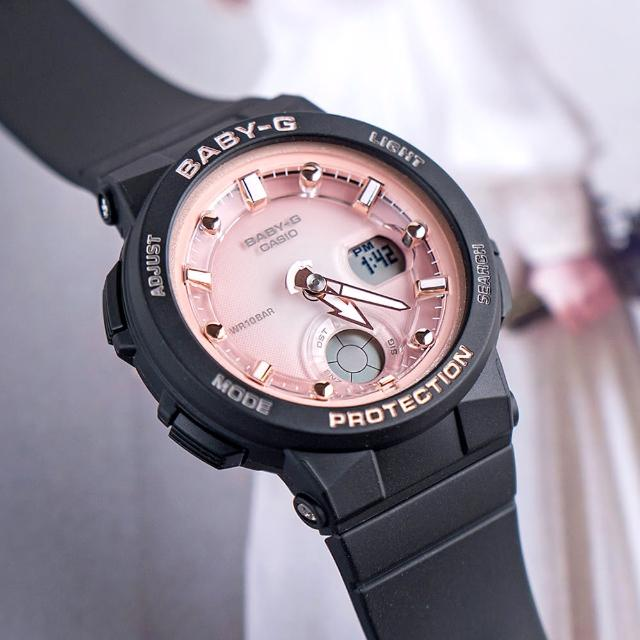 【CASIO 卡西歐】BABY-G 粉色沙灘風休閒運動橡膠腕錶/黑x粉面(BGA-250-1A3DR)