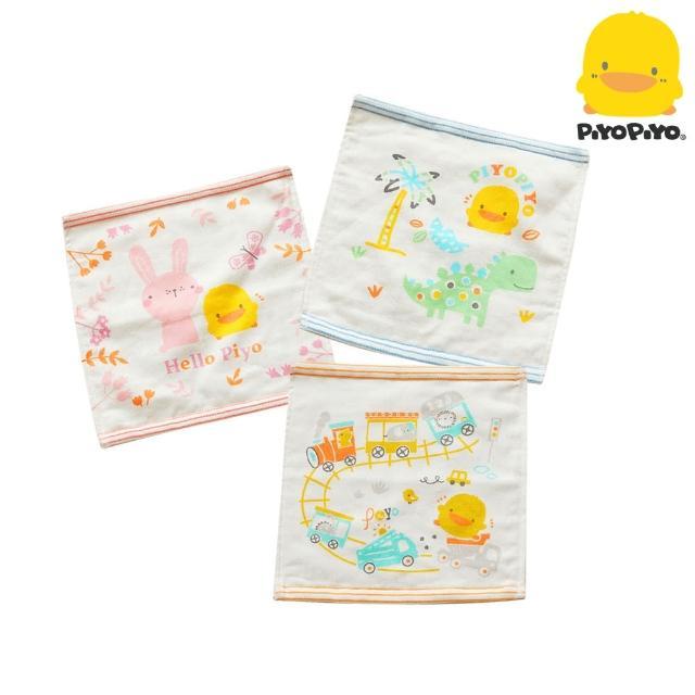 【Piyo Piyo 黃色小鴨】雙層紗布印圖小方巾(3入)