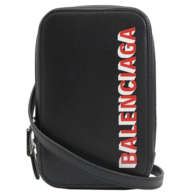 【Balenciaga 巴黎世家】經典LOGO小牛皮信用卡斜背包手機包(黑)