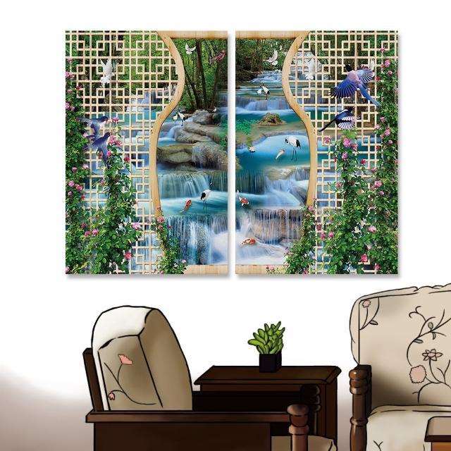 【24mama 掛畫】二聯式 油畫布 動物 鳥 金魚 森林 植物 花卉 無框畫-40x60cm(美麗的瀑布)