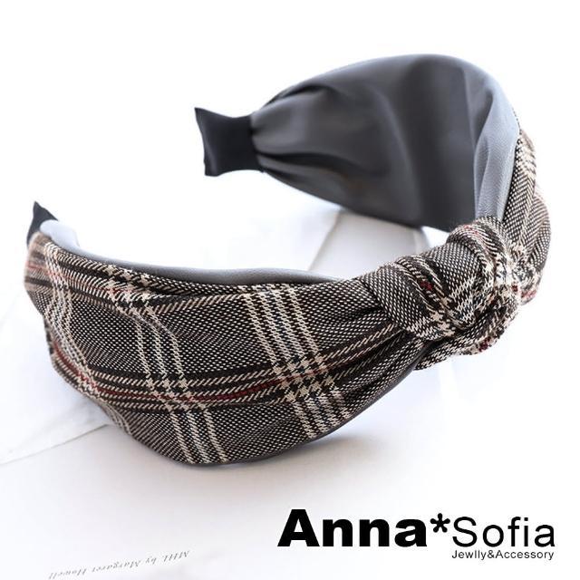 【AnnaSofia】韓式髮箍髮飾-格紋拼皮革中央結(灰革-格紋系)