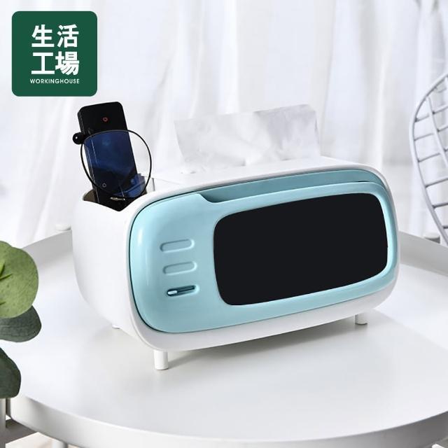 【生活工場】創意電視機面紙盒-藍