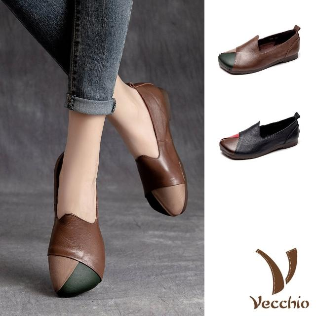 【Vecchio】真皮休閒鞋/全真皮頭層牛皮復古色塊拼接寬楦舒適休閒鞋(2色任選)