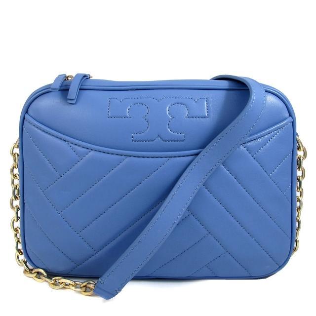 【TORY BURCH】縫線LOGO直條☆☆皮革鏈帶斜背包(粉藍色)