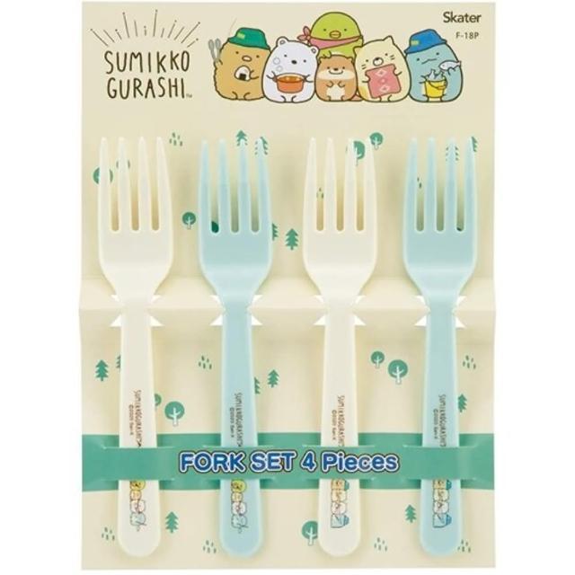 【小禮堂】角落生物 日製 塑膠叉子組 兒童叉子 麵叉 點心叉 環保餐具 《4入 黃 露營》