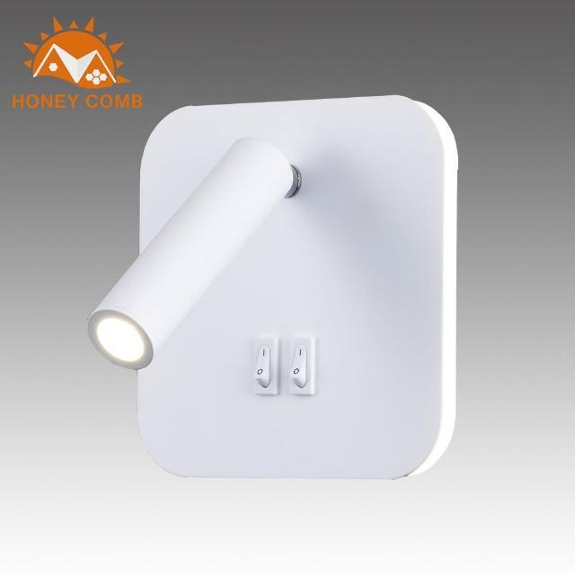 【Honey Comb】方型燈背光圈燈管兩用壁燈(BL-31994)