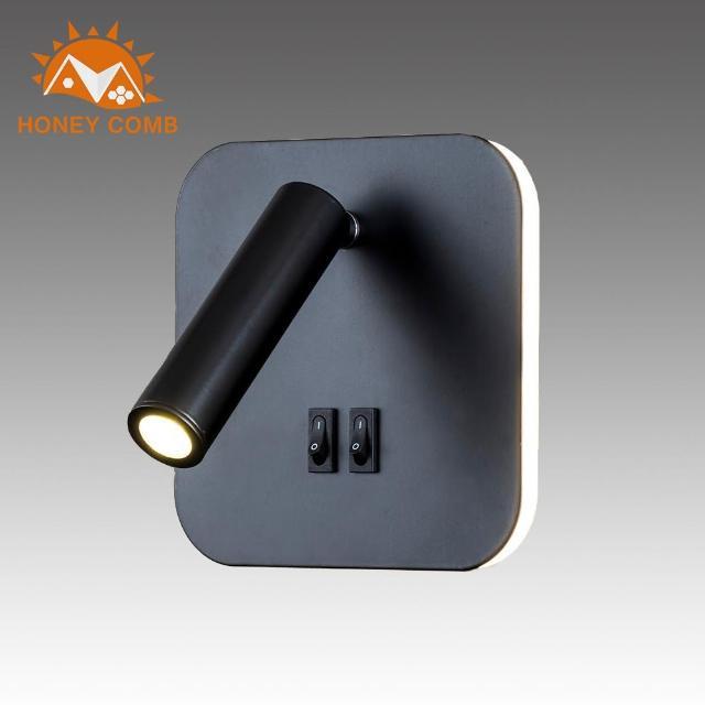 【Honey Comb】方型燈背光圈燈管兩用壁燈-黑色款(BL-31997)